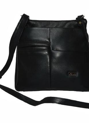 Натуральная кожа. кожаная женская черная сумочка aime. код п38434
