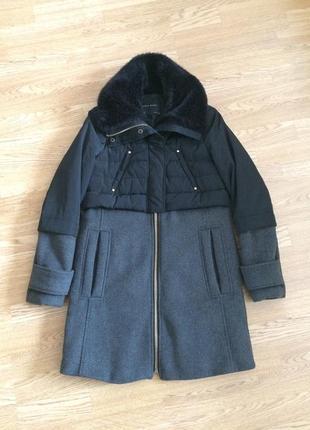 Актуальное теплое зимнее пальто 699грн, куртка с высоким меховым воротником zara