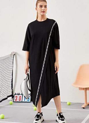 Shein. товар привезен из англии. платье миди оверсайз с лампасами love