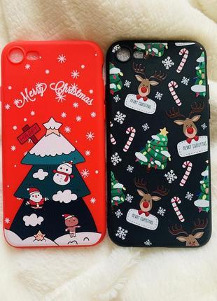 Чехол новогодний для iphone 6, 6s, 7, 7 plus, 8, 8 plus, x, xs, xs max