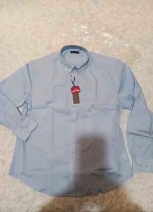 Рубашка привезена из италии, р. xxl, новая, голубая