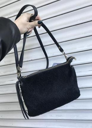 Кожаная сумка кроссбоди сумка с натуральным мехом маленькая сумочка