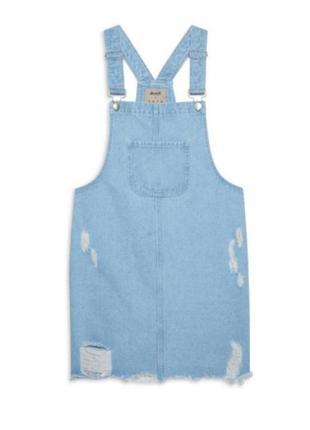 Крутой джинсовый сарафан с рваностями комбинезон платье