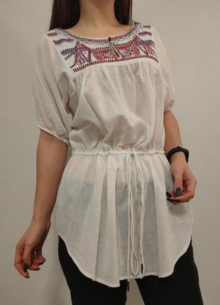 Блузка с вышивкой вышиванка на завязках