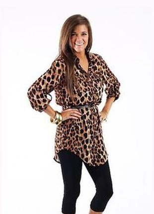 Леопардовая блузка туника шифон  р s zara оригинал