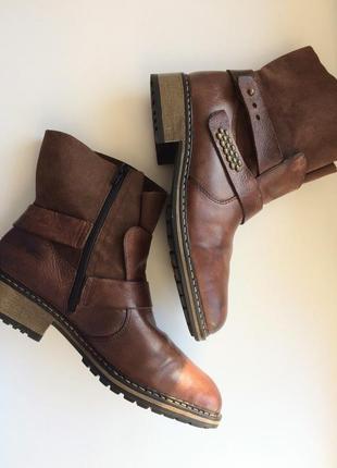 Зимние кожаные ботинки шерсть мех протектор rieker рикер