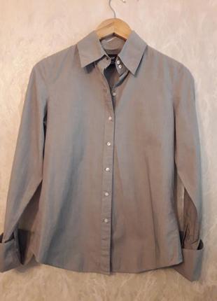 Классическая приталенная рубашка в очень мелкую полоску