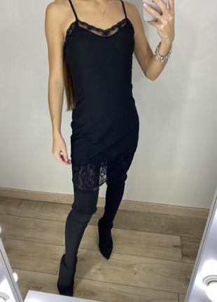 Чёрное платье в бельевом стиле zara