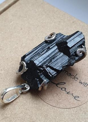 Кулон с черным турмалином шерл