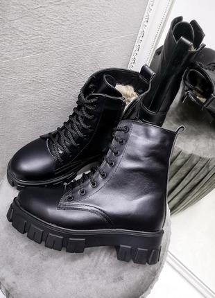 Ботинки зимние кожа шнуровка тракторная подошва