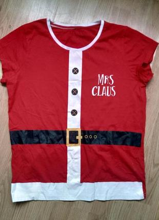Новогодняя кофта футболка мисис клаус
