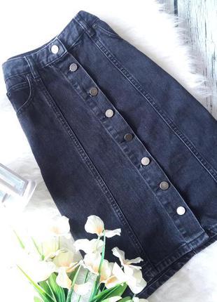 Джинсовая юбка а силуэта на пуговицах спереди высокая талия размер xs s серая черная asos