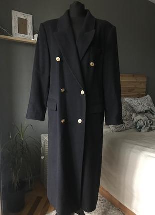 Шерстяное пальто двубортное пиджачного кроя длинное