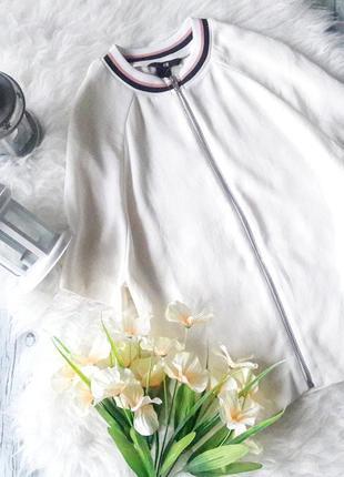 Топ блуза белая на молнии с рукавом шифоновая свободный крой размер s m h&m