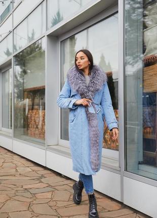Роскошное зимнее пальто с густым натуральным мехом
