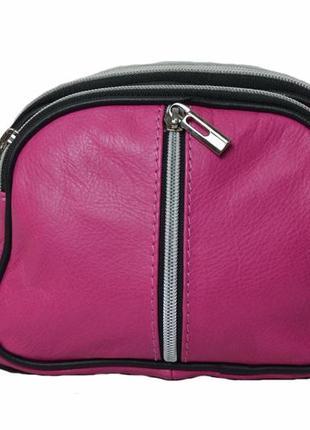 Кожаная итальянская женская маленькая розовая сумочка  genuine leather код п38967.