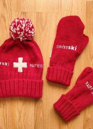 Женская шапка варежки swissski raiffeisen швейцария комплект женский 55-58р. м/l