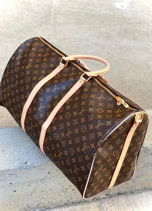 Дорожная сумка коричневая монограмм луи кожа ручная кладь