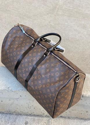 Дорожная сумка коричневая монограмм луи кожа ручная кладь2 фото