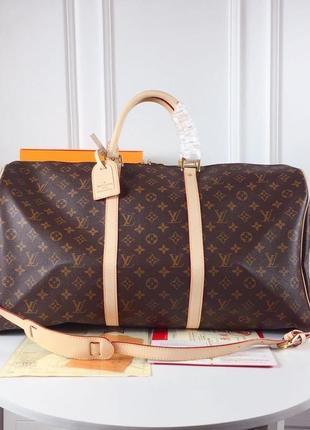 Дорожная сумка коричневая монограмм луи кожа ручная кладь3 фото