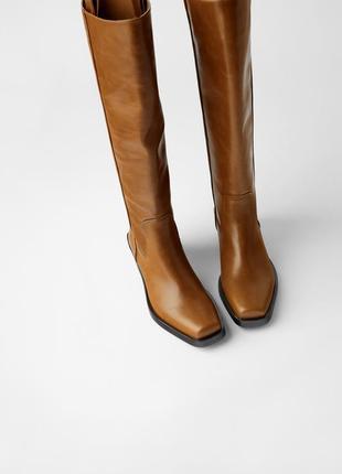 Кожаные ковбойки сапоги zara, коричневого цвета