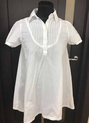 Белая хлопковая блуза свободного кроя с коротким рукавом tom tailor s-m
