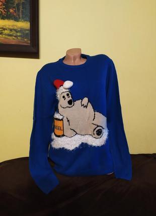 Красивий оригінальний світерок в новорічному стилі.  новогодний свитер  м