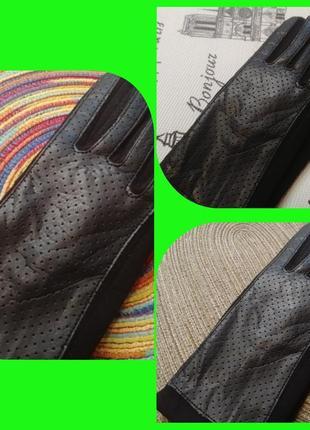 💥🧤📲сенсорные перчатки (кожа+ вязаный трикотаж)