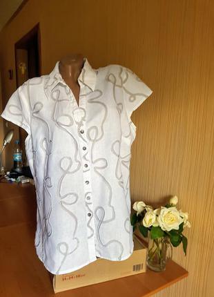 Льняная блуза с вышивкой 54-56р