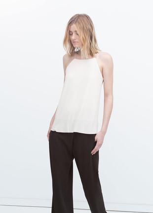 Легкая майка/топ/маечка/блуза кремового цвета zara basic