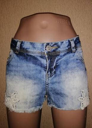 Стильные женские короткие джинсовые шорты с бахромой и кружевом select