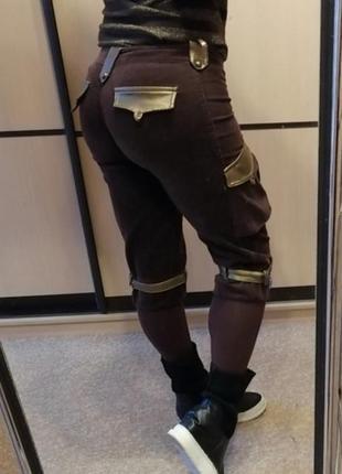 Штаны вельветовые с чулком брюки лосины