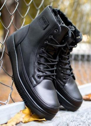 Мужские черные зимние ботинки, цвет чёрные, материал экокожа.