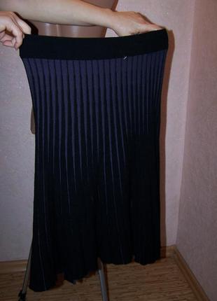 Вязаная юбка миди гофре 100%меринос на резинке