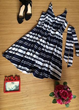 Стильное платье в полоску из вискозы, размер 3xl