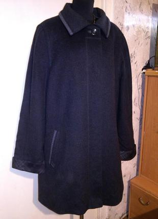 Шерсть-75%,5% кашемир,элегантное,тёплое,тёмно-серое пальто,большого размера,marcona
