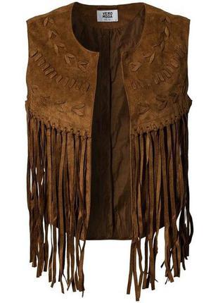 Стильная жилетка с бахромой иммитация замши, накидка, пиджак, кардиган