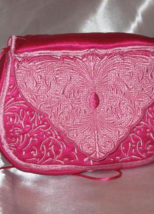 Клатч ручной работы. сумочка розовая.