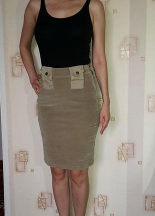 Миди юбка, удобная и стильная, высокая посадка, песочного цвета, юбка карандаш(футляр)