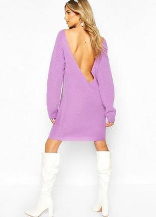 Boohoo. стильное платье-свитер с глубоким вырезом на спине платье 46-48новoе.