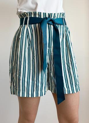 Жіночі шорти бермуди полосаті з стрічковим поясом, трендові шорти в полоску.