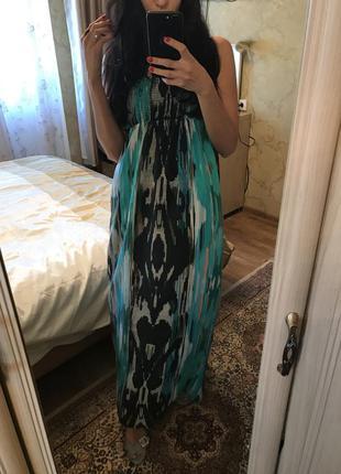 Новое шикарное платье в пол 100% шелк warehouse 12-14pp