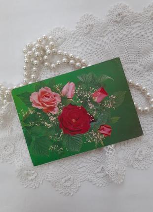 Чайная роза цветы открытка ссср советская винтаж