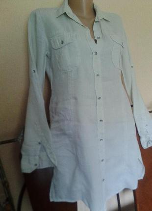 """Итальянское трэндовое короткое мини-платье-рубашка 100% лен от marc o""""polo оригинал"""