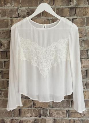 Віскозна легка та ніжна блуза zara, кремового кольору,розмір хс-с🔥