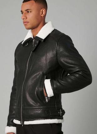 Мужская кожанная дублёнка на меху, дублёнка из кожи,кожанная куртка