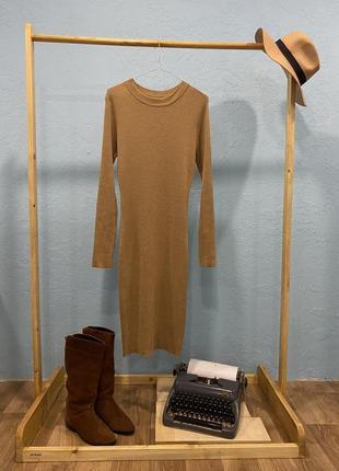 Потресающее песочное платье m-l