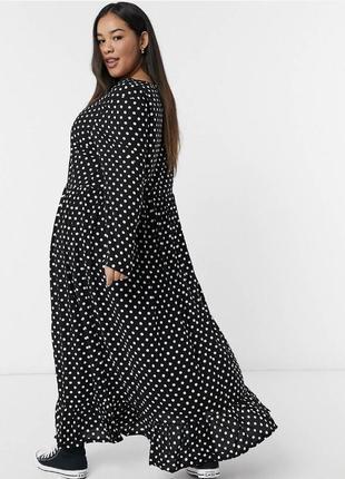 Чёрное платье макси из вискозы в принт свободное с оборкой и длинными рукавами asos батал