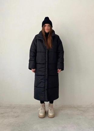 Длинный зимний пуховик-пальто р 42-48 разные цвета
