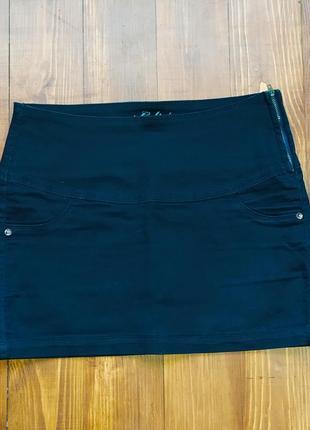 Синяя черная джинсовая юбка мини
